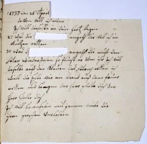 Persönliche Weissagung der Anna vom Büchel, die Namen der Betroffenen wurden nachträglich entfernt