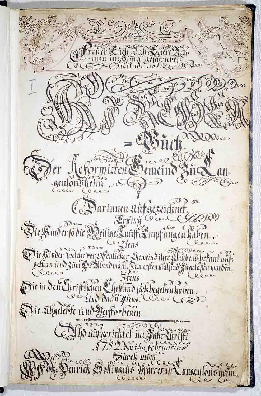 Frontispiz Kirchenbuch Ev.-ref. Gemeinde Langenlonsheim