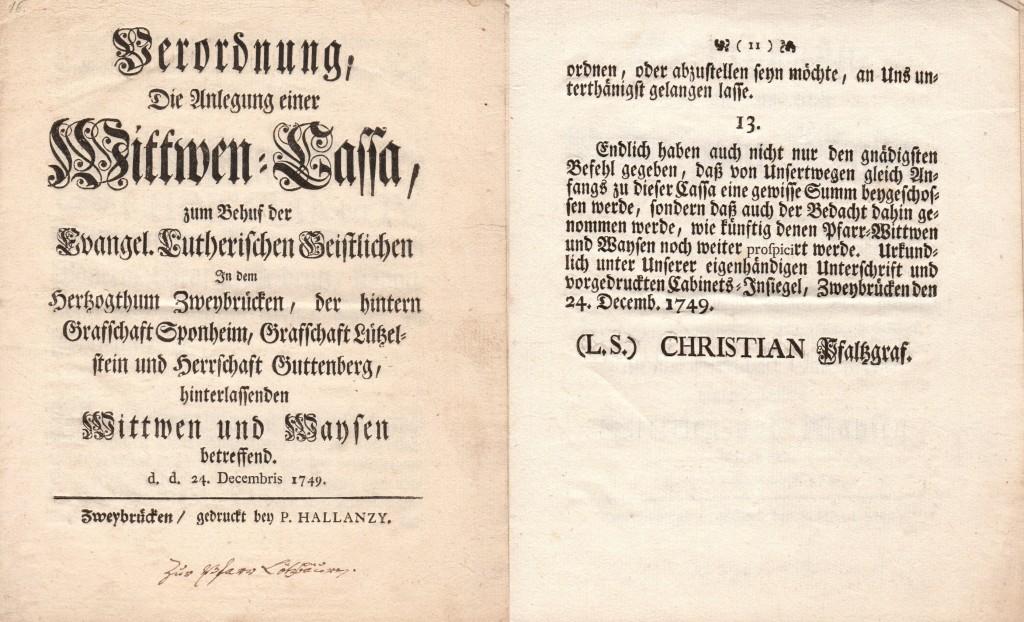 Pfalz-Zweibrücken, Witwenkasse 1749