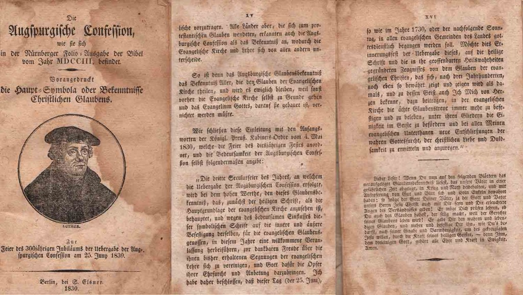 Zur Feier des 300jährigen Jubiläums der Übergabe der Augsburgischen Konfession am 25. Juni 1830