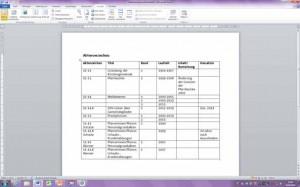 Muster eines Aktenverzeichnisses