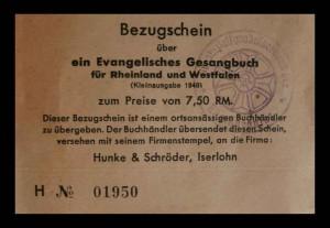 Bezugschein über ein Evangelisches Gesangbuch für Rheinland und Westfalen 1948