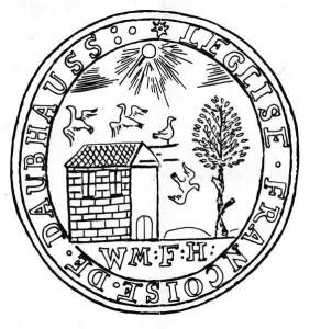 """Siegelumschrift """" LEGLISE FRANCOISE DE DAUBHAUSS"""" übersetzt: """"Die französische Kirche von Daubhausen"""" Symbol: """"Die am unteren Rande des inneren Kreises befindlichen Buchstaben W. M. F. H. haben nur inbezug auf die ersten zwei Buchstaben enträtselt werden können. Mit W. M. sind die Vornamen des Grafen von Solms-Greifenstein (1676-1724) angedeutet Wilhelm Moritz"""" Datum Zeit der französich reformierten Kirche 1685-1829"""