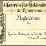 Mitgliedskarte des Hilfsvereins für Geisteskranke