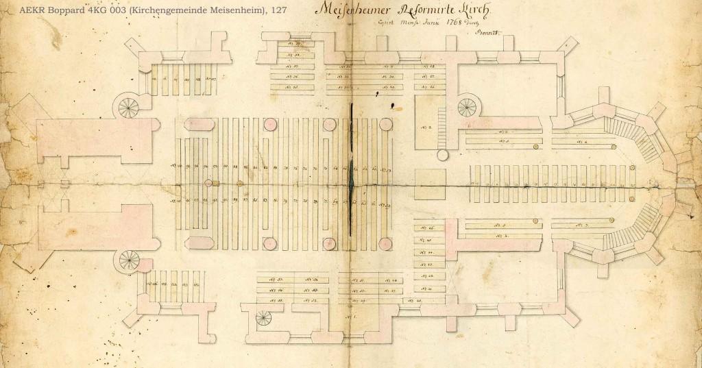 Kirchenstuhlordnung Meisenheim 1769, aus Bestand: AEKR Boppard 4 KG 003 (Ev. Kirchengemeinde Meisenheim), 127