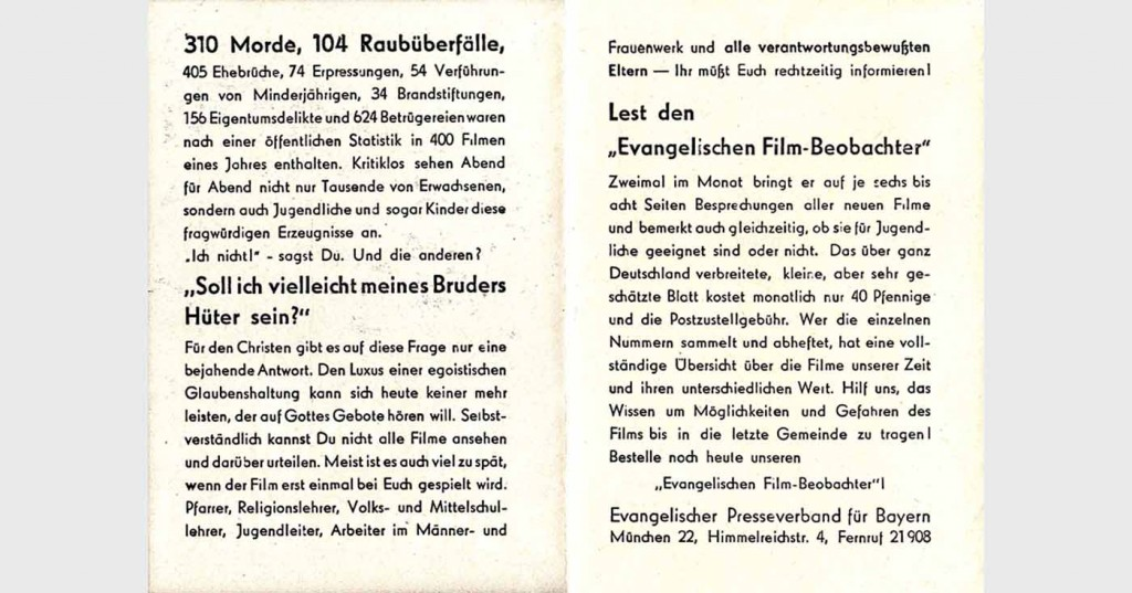 Werbeblatt aus Bestand: AEKR Boppard; Rückseite; 165 x 118 mm