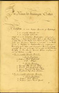 Wertvolle Tradition: Erste Seite der Unionsurkunde der reformierten und lutherischen Gemeinden in Düsseldorf, 1824, 4KG 005, Nr. 373