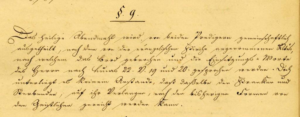 Leseübung: §9 der Unionsurkunde der Ev. Gemeinde Düsseldorf