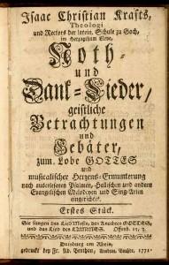 Kraft, Isaak Christian Noth- und Dank-Lieder Duisburg 1771 Archivbibliothek GK 9/1