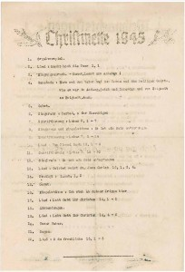 Ablaufplan der Christmette 1945 im US-Kriegsgefangenenlager Fort Custer