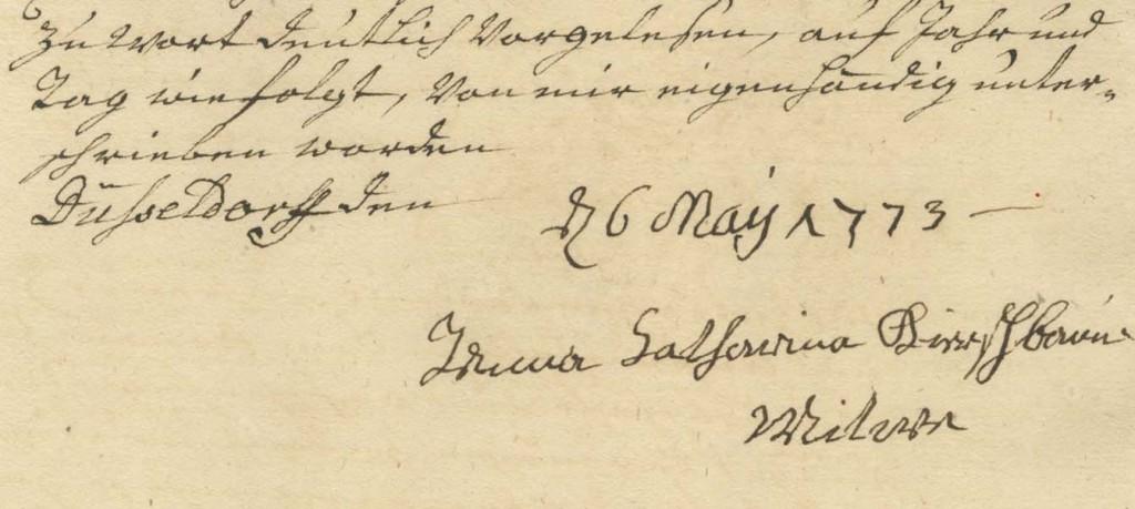 Unterschrift der Witwe Catharina Kirschbaum unter die Conditionen für die Aufnahme ins Armenhaus, 1773 (4KG 005, 139)