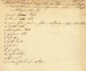 Inventarliste der Margaretha van Veld bei Eintritt ins Armenhaus der Reformierten Gemeinde Düsseldorf, 1785