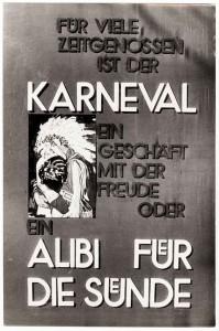 Schaukasten Aushang einer Düsseldorfer Kirchengemeinde zu Karneval, Plakat Entwurfe Gerhard Brandt, aus Bestand: AEKR Düsseldorf 8SL 071 (Fotosammlung Hans Lachmann)