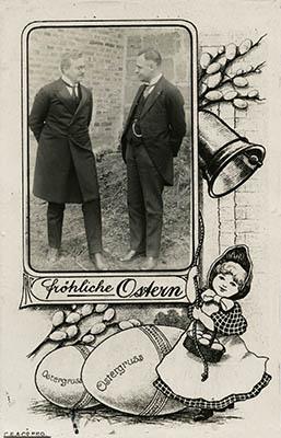 Schülerbibelkreise (BK) Johannes Schlingensiepen (l.) und Samuel Henrichs - Fröhliche Ostern Postkarte 1928