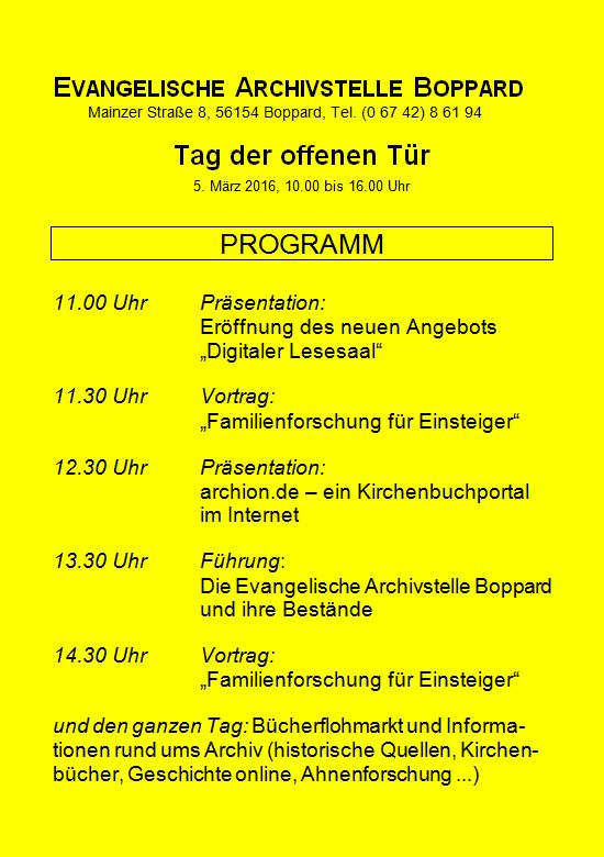 Programm Tag der Archive