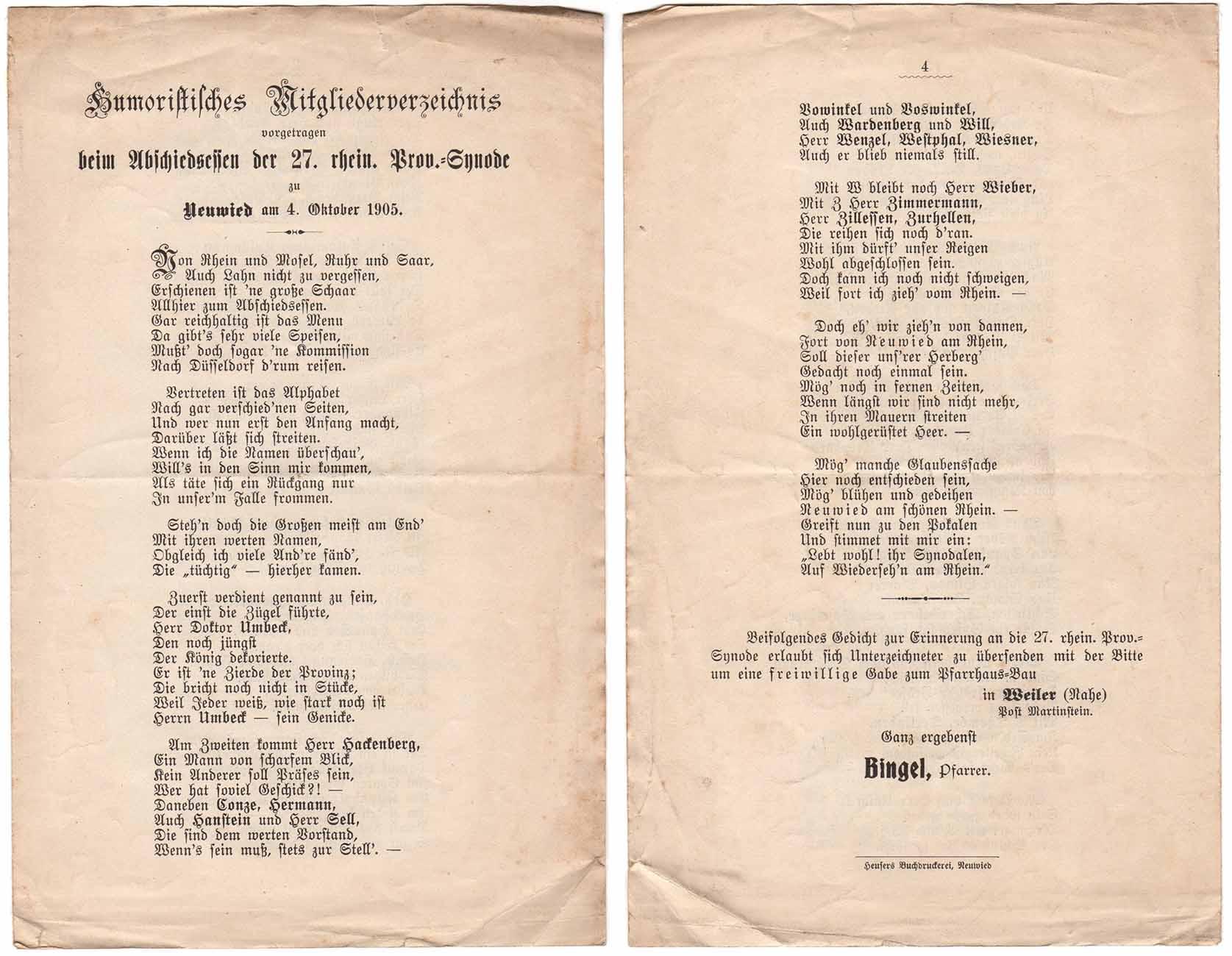 Die erste und die letzte Seite des humoristischen Mitgliederverzeichnisses der Rheinischen Synode von 1905 in Gedichtform aus der Feder von Pfarrer Friedrich Bingel (Weiler/Nahe); Archiv der Evangelischen Kirche im Rheinland;