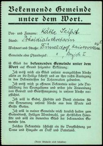 Bekennende Kirche, Ausweis für Präsidialsekretärin Käthe Seifert 1934; aus Bestand AEKR Düsseldorf 8 SL 046 (Bildarchiv), 59_00091