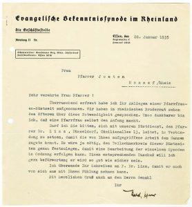 Schreiben von Heinrich Held an Lotte Josten, 28.1.1935, aus Bestand: AEKR Düsseldorf 5WV 016 (Rheinischer Pfarrfrauendienst), Nr. 21