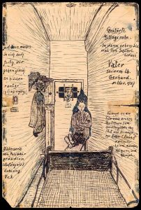 """Bild: Paul Schneider """"Gestörte Mittagsruhe"""" Bild aus dem Gefängnis, 5. November 1937, aus Bestand: AEKR Düsseldorf 8SL046 (Bildarchiv), 80002_22, Public Domain"""