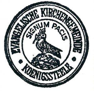 """Siegelumschrift """"1. Zeile Evangelische Kirchengemeinde Königssteele 2. Zeile Signum Pacis"""", Symbol: eine Friedenstaube mit Ölzweig, außer Geltung gesetzt, ohne Datum,"""