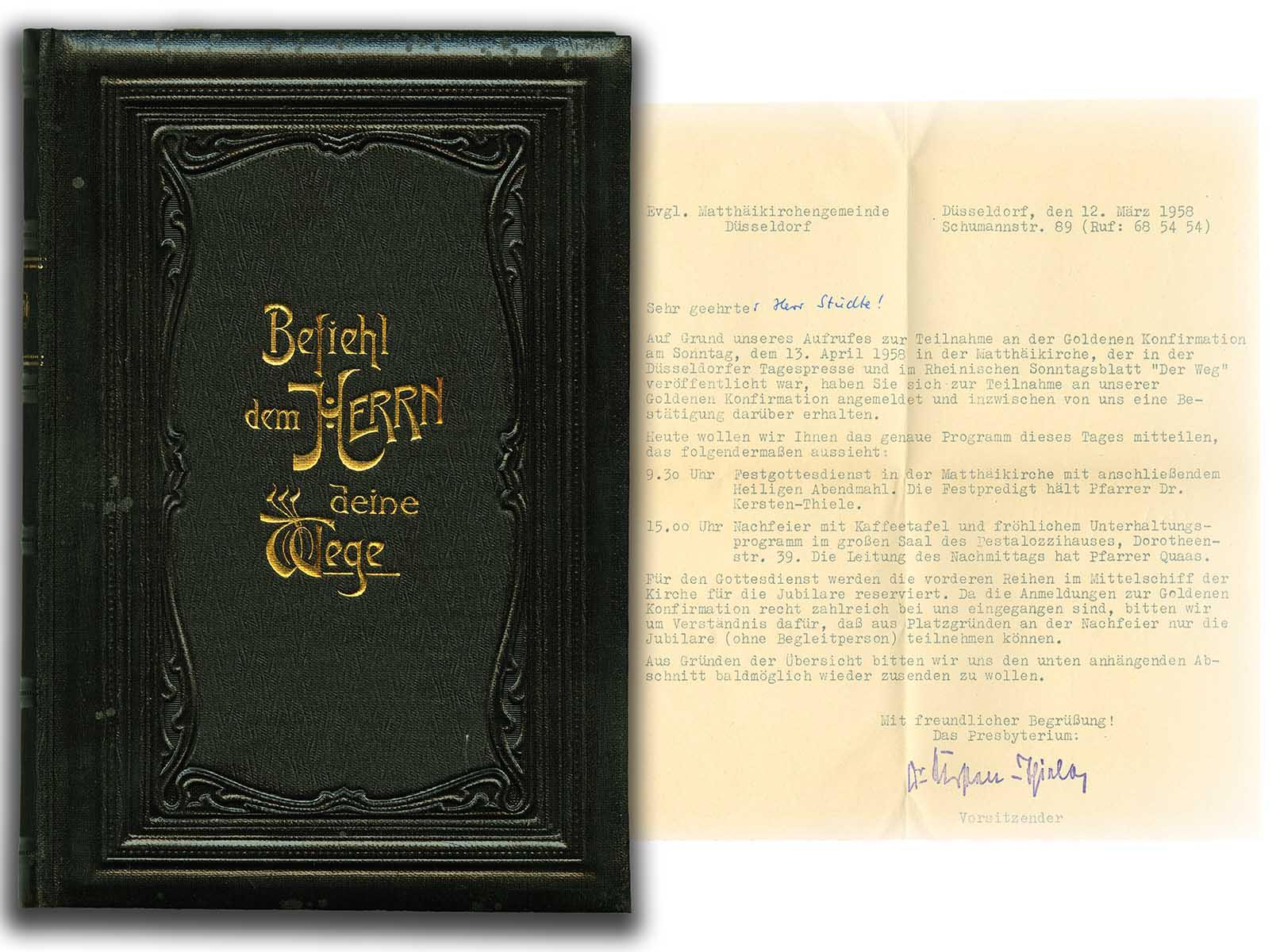 Einladung zur goldenen Konfirmation 1958: Gesangbuch für die evangelisch-lutherische Kirche des Herzogtums Braunschweig vom Jahre 1902 ; aus Bestand : AEKR Düsseldorf Biblitohek Hh499