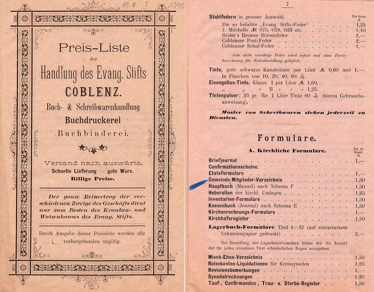 """Preisliste der Handlung des Evangelischen Stifts Koblenz aus der Zeit um 1900 mit dem Formular """"Hauptbuch (Manual) nach Schema F"""" im Angebot, aus Bestand: AEKR Boppard"""