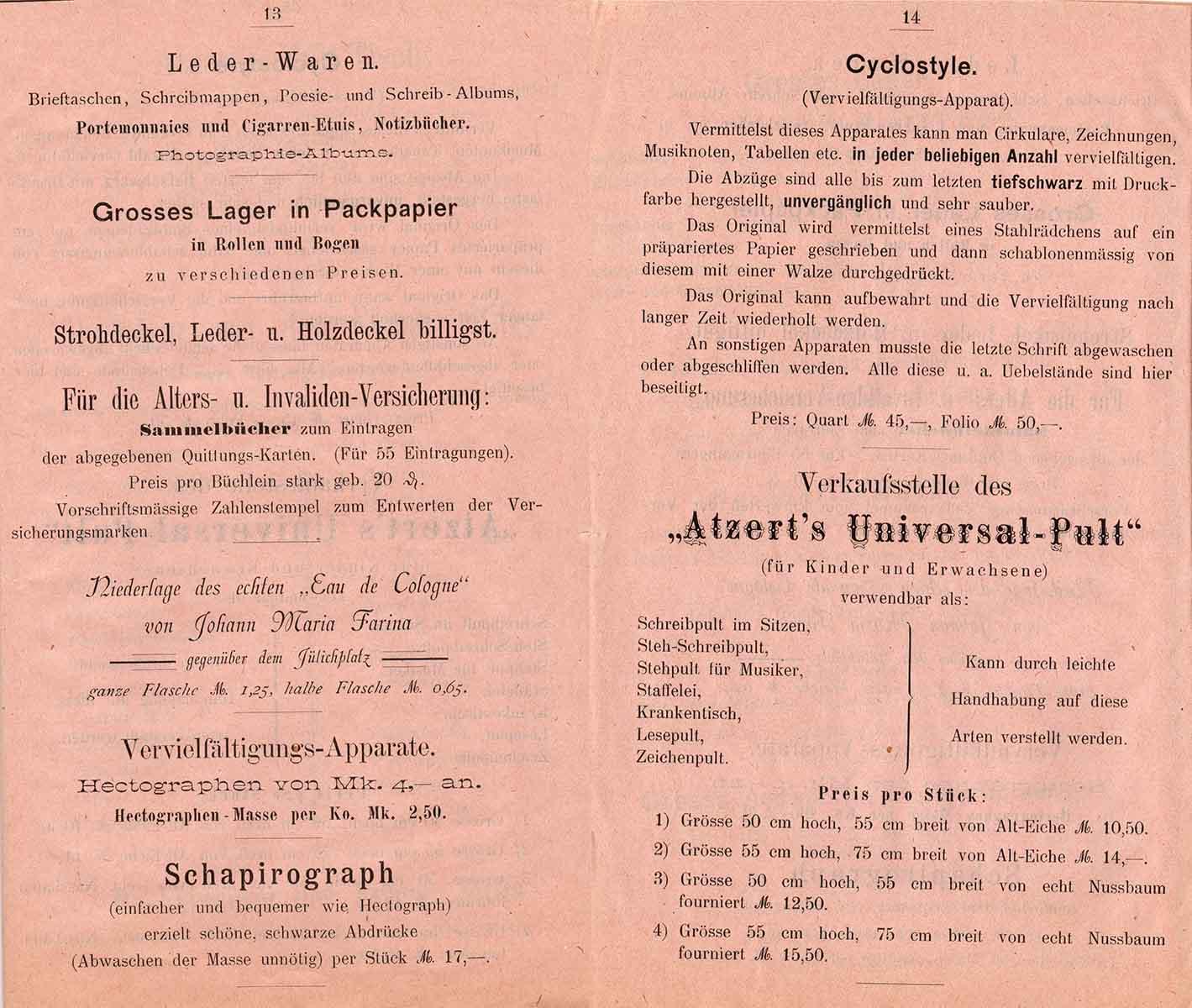 Die Stiftsbuchhandlung hatte - neben Portemonnaies, Kölnisch Wasser und Strohdeckeln - auch eine breite Palette an um 1900 modernen Vervielfältigungsapparaten im Angebot, aus Bestand AEKR Boppard