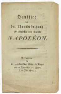 Danklied bey der Thronbesteigung seiner Majestät des Kaisers Napoléon.
