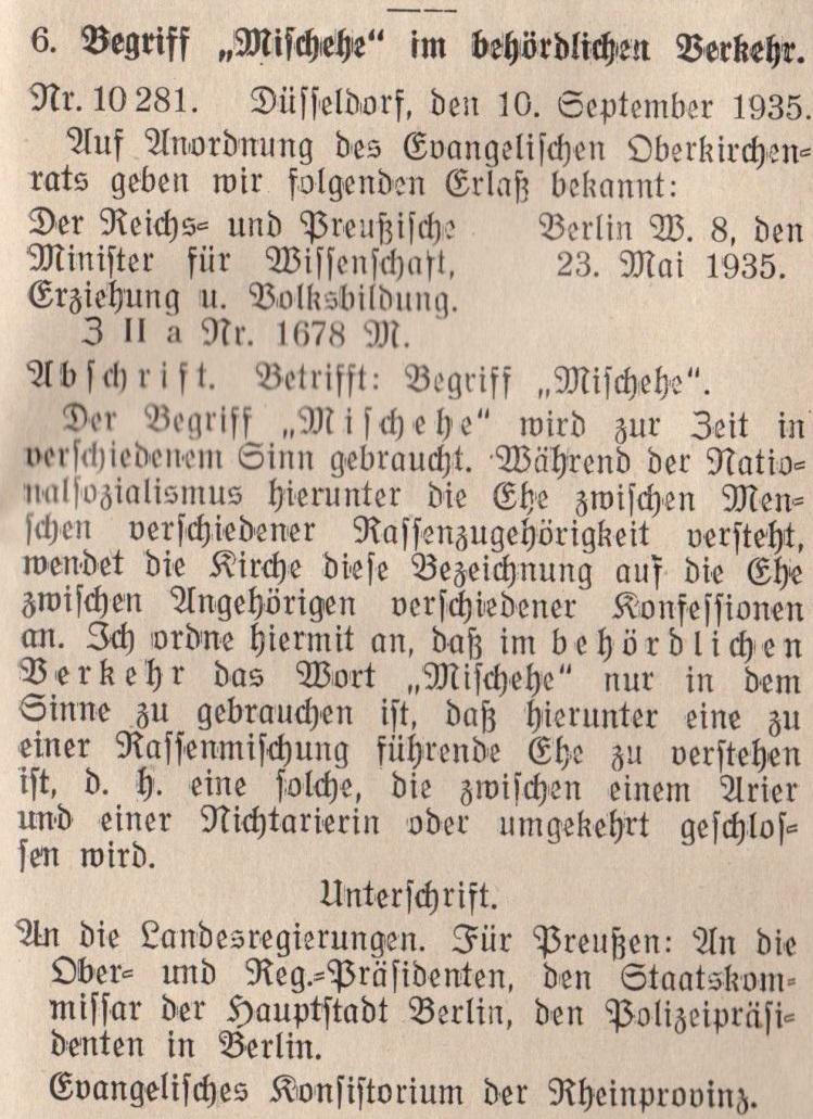 """Erlass des Ministers für Wissenschaft, Erziehung und Volksbildung von 1935 über die Verwendung des Begriffs """"Mischehe"""" (Kirchliches Amtsblatt der Rheinprovinz Nr. 26/1935) ."""