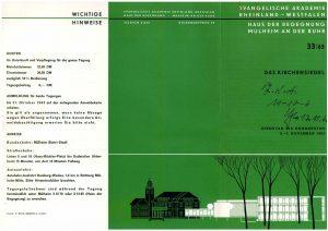 Vorderseite des Programmflyers für die Siegel-Tagung vom 5. bis 7. November 1963 in der Evangelischen Akademie Mülheim an der Ruhr