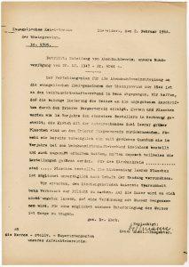 Zuteilung von Abendmahlswein, Rundverfügung vom 20.12.1943; aus Bestand: AEKR Düsseldorf 1OB 002 (Konsistorium der Rheinprovinz), Nr.711 und 712