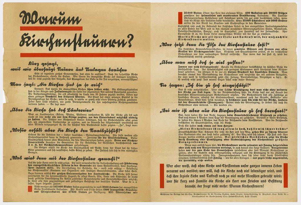 Kirchensteuerkampagne, ca. 1920, aus Bestand: AEKR Düsseldorf 8SL 049, 1337