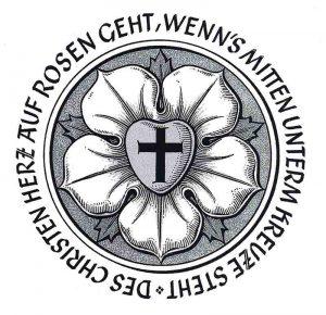 Die Luther-Rose in einer Gestaltung des Bad Nauheimer Heraldikers Heinz Ritt