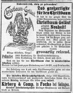 Christbaum Geläut, Evangelischer Hausfreund : Wochenbl. für Stadt u. Land Kreuznach, 4. Dezember 1904, Nr. 49, S.390, aus Bestand: AEKR Bibliothek ZK 028