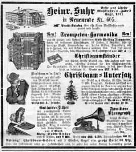 Zubehör für den Weihnachtsbaum 1907, Evangelischer Hausfreund : Wochenbl. für Stadt u. Land Kreuznach, 15. Dezember 1907, Nr. 50, S.399, aus Bestand: AEKR Bibliothek ZK 028