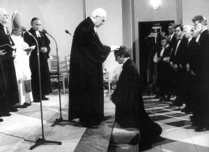 Präses Peter Beier - Amtseinführung, mit Bischof Horst Gienke ( DDR ), Foto: Hans Lachmann, aus Bestand: AEKR Düsseldorf 8SL 046 (Bildarchiv), 10_19890000