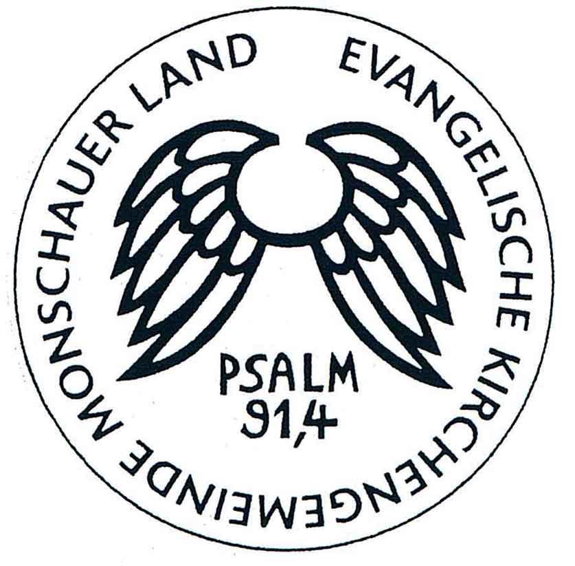 """das Symbol: ein Flügelpaar, Psalm 91,4, """"Mit seinen Schwingen behütet er Dich,"""