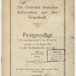 Festpredigt zum 400jährigen Reformationsjubiläum 1917