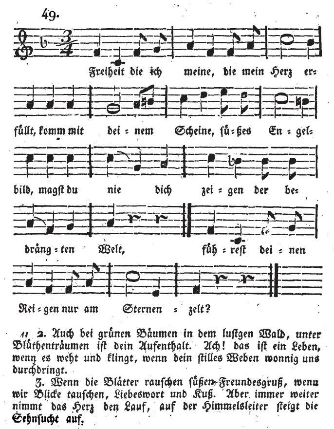 """Bernhard Kleins Vertonung von """"Freiheit die ich meine"""" im Erstdruck der """"Deutschen Lieder für Jung und Alt"""" von 1818"""