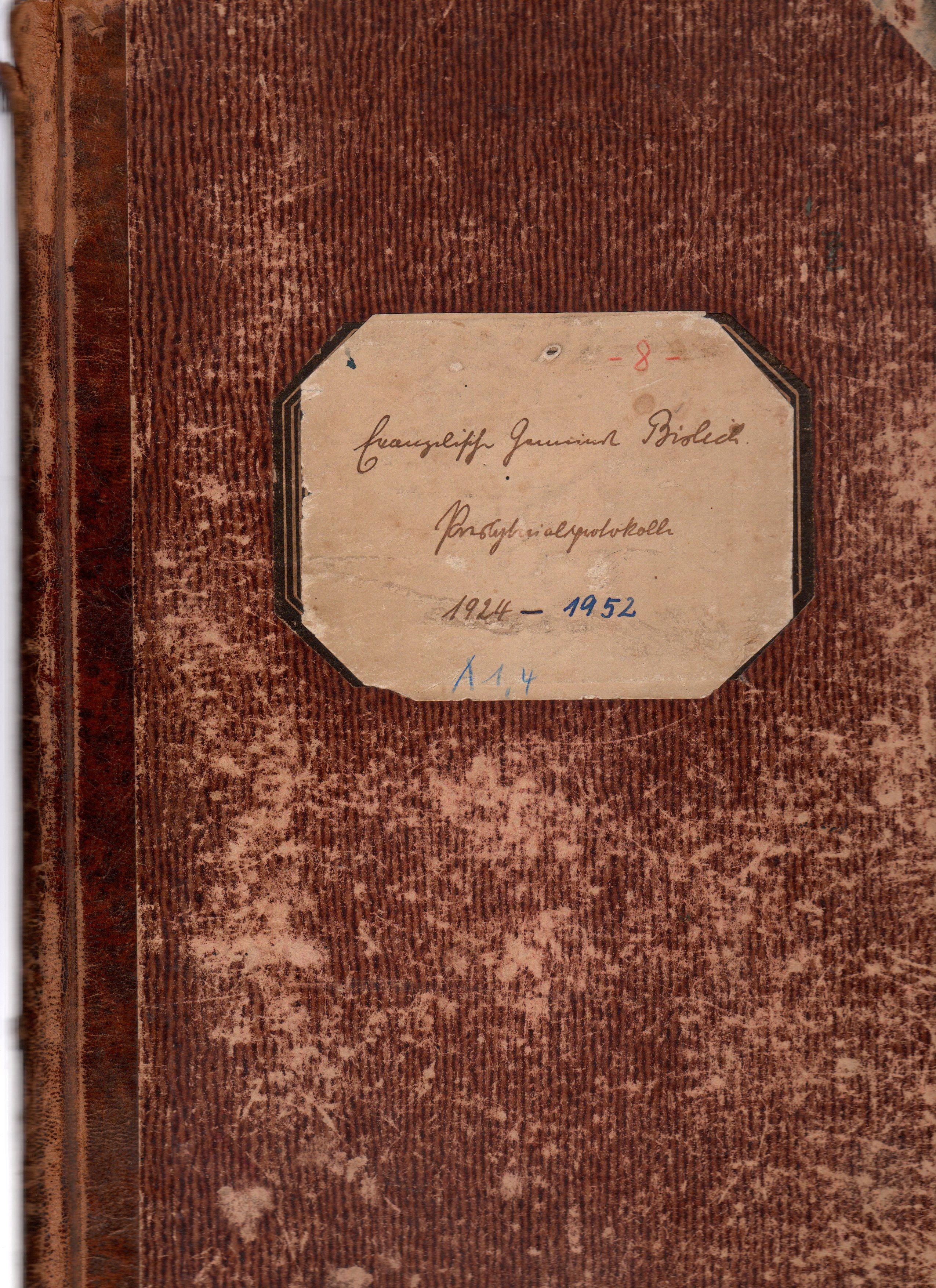 Presbyteriumsprotokoll Bislich 1924-1952