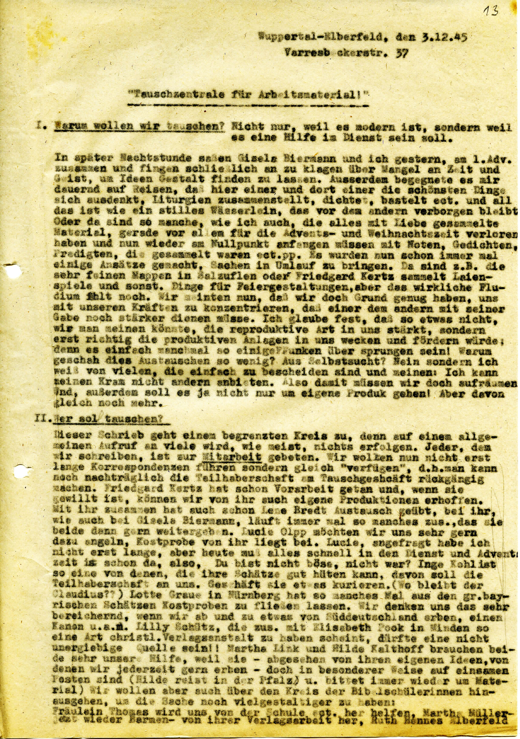 Rundschreiben von Käte Kreling vom 3. Dezember 1945.