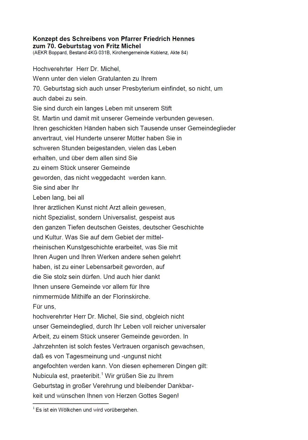 Transkription Brief Hennes-Michel